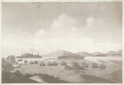 'View of Whampoa and Bankshall, China'.  Aquatint, drawn and engraved by James Moffat, published Calcutta 1802.
